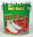 Acrylic paint specially formulated to painting and marking of tennis courts and sports areas.