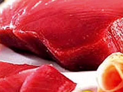 Sliced and frozen tuna steaks