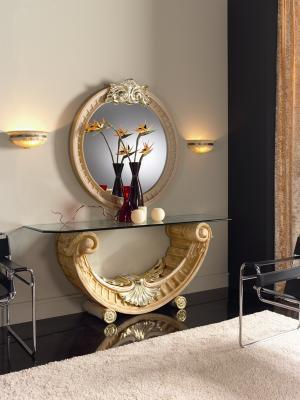 Console and mirror model EMPERATRIZ sizes 180x55x76 and 110 Diam.