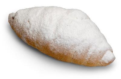 Croissant, chocolate filling, icing sugar, in bulk