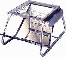 Chromed steel podoscope. With removable and adjustable surface on the top
