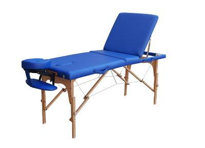 Wooden folding stretcher with fixtures, space for face and stopper included