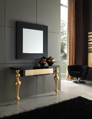 Console and mirror model RETTO 120x35x78 cms. y 90x3x90 cms.