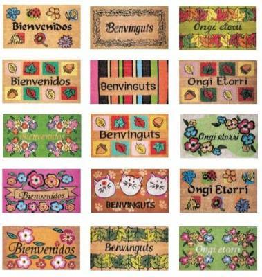 Doormats of different materials and motifs