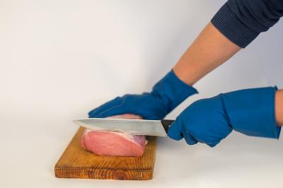 Satin glove especially for food use