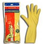 Yellow flock latex gloves