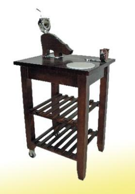 Mesa jamonera turntable for a ham and two in the back rough