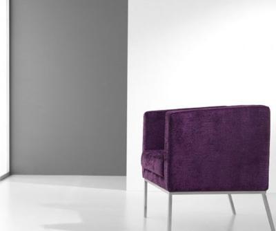 Modern upholstered armchair with chromed iron foot