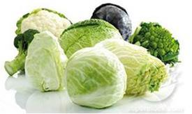 Cruciferous vegetables: broccoli, cauliflower, romanesco cabbage, and cabbage